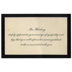 Florence Harding Sympathy Card for Warren Harding Death