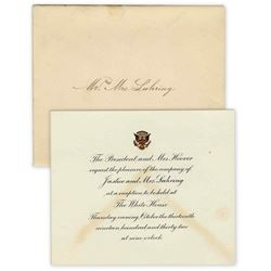 Herbert Hoover White House Invitation. Rare