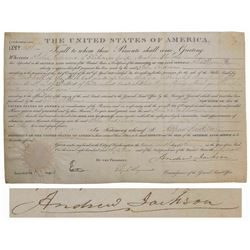 Andrew Jackson Land Grant Signed Document as President