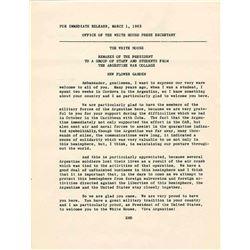 President John Kennedy JFK Cuban Missile Press Release