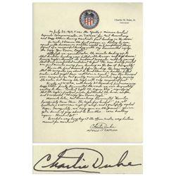 Charlie Duke Signed Handwritten Essay re Apollo 11
