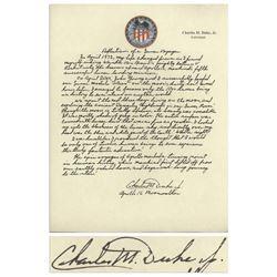 Charlie Duke Signed Handwritten Remembrance of Moon