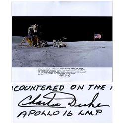 Charlie Duke Signed 20'' x 16'' Photo of the U.S. Flag