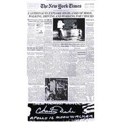 Charlie Duke Signed NY Times Poster Long Inscription