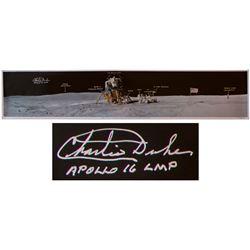 Charlie Duke Signed 40'' x 8'' Panoramic Photo of Moon