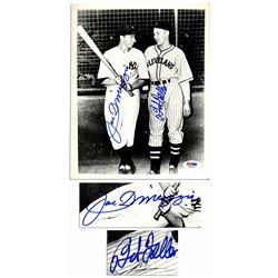 Joe DiMaggio & Bob Feller 8x10 Signed Photo PSA/DNA