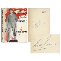 1947 Billy Evans Signed Book Umpiring From the Inside