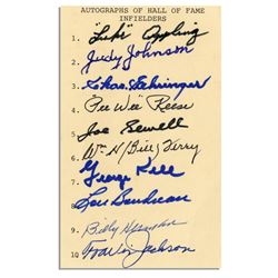 Signatures by 10 Hall of Fame Baseball Infielders