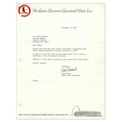 Stan Musial Letter Signed Cardinals Letterhead 1967