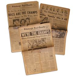 Lot of 3 Pittsburgh Pirates World Series WinNewspapers