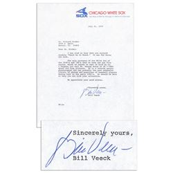Hall of Famer Bill Veeck Typed Letter Signed