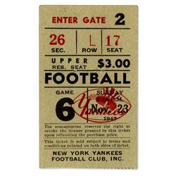 Cleveland Browns New York Yankees 1947 Ticket Stub