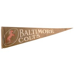 Early Baltimore Colts Pennant Featuring the Horse Mascot