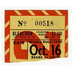 Colts v Bears Ticket Stub 16 October 1955 Wrigley Field