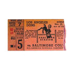 1949 Los Angeles Dons Baltimore Colts Ticket NFL