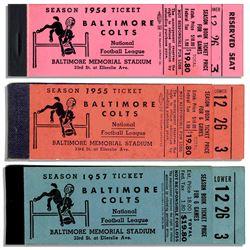 Lot of 3 Colts Season Empty Ticket Books 1954, 55 & 57