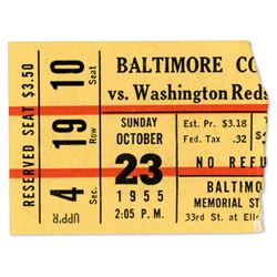 Colts VS. Redskins Ticket Stub 1955