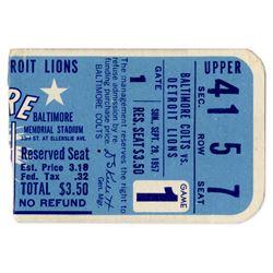 1957 Baltimore Colts vs. Detroit Lions Ticket Stub