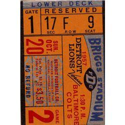 1957 League Champion Detroit Lions vs. Baltimore Colts Ticket Stub