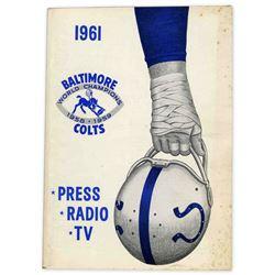 Baltimore Colts Press Radio & T.V. Guide 1961