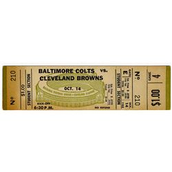 Baltimore Colts vs. Browns Full Ticket -- 14 October 1962