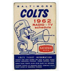 Colts Pocket Schedule for the NFL's Entire 1962 Season