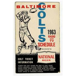 Colts Pocket Schedule for the NFL's 1963 Season