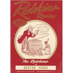 1948 Washington Redskins Boston Yanks NFL Program