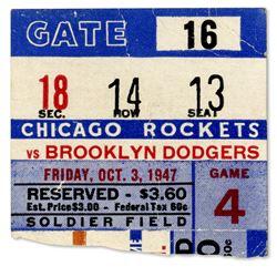 Chicago Rockets Brooklyn Dodgers Ticket AAFC Football