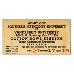 Southern Methodist U vs. Vanderbilt U Ticket Stub 1936