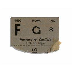 1899 Football Ticket Stub From Harvard Versus Carlisle