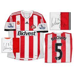 Wes Brown Match Worn Sunderland Football Shirt Signed