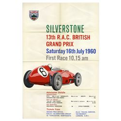 1960 British Grand Prix Auto Racing Poster