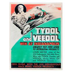 1933 Tydol and Veedol Indy 500 Advertisement Poster