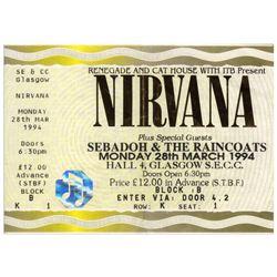 Nirvana Original Concert Ticket From 28 March 1994