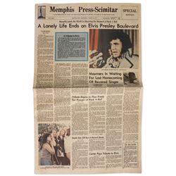 Elvis Presley Death Newspaper From His Hometown
