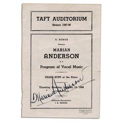 Legendary Vocalist Marian Anderson Program Signed