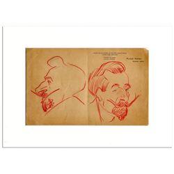 Opera Tenor Enrico Caruso Hand-Drawn Pair of Sketches