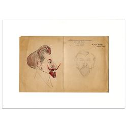 Pair of Sketches by Enrico Caruso of Pol Plancon