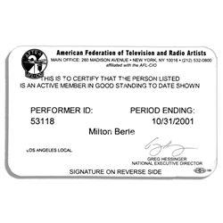 Milton Berle AFTRA Membership Card From 2001
