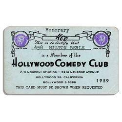 Milton Berle Card From Hollywood Comedy Club in 1959