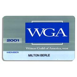 Milton Berle Membership Card to The Writers Guild