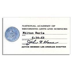 Milton Berle 1962 Membership Card to Grammy's NARAS