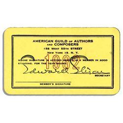 Milton Berle 1962 Membership Card to Authors & Composer