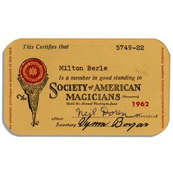 Milton Berle's Society of American Magicians Card 1962