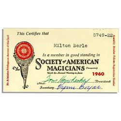 Milton Berle 1960 Society of American Magicians Card