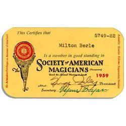 Milton Berle Society of American Magicians Card 1959