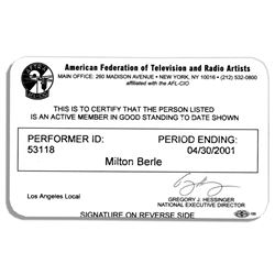Milton Berle Official Federation of Television Mem Card