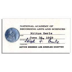 Milton Berle 1960 NARAS Grammy's Membership
