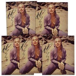 Lot of 5 Jeanne Carmen 8'' x 10'' Photos Signed -- Fine